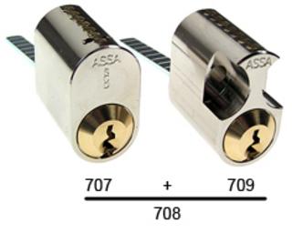 Cylinder 707 Standard 3 Nycklar    Matt Mässing