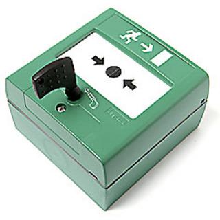 Nödöppningsknapp Väggmontage Box   Grön