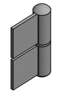 Konstruktionsgångjärn 100 Vänster  Stål/Mässingsprint